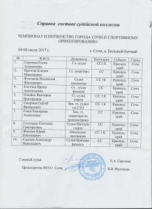 Судейская справка ЧиП Сочи 6.07.2017